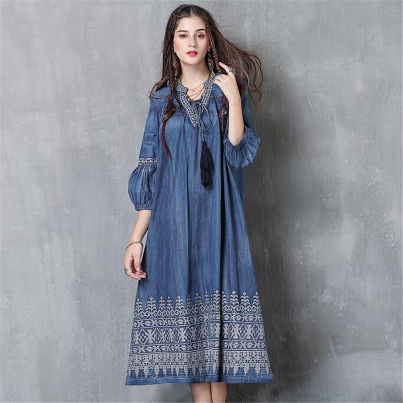 Vintage Automne Qualité Élégant Brodé Mode Casual Denim Robes Lanterne Robe Manches Haute Longues Lâche Jeans Bleu New 5qHdxwtt