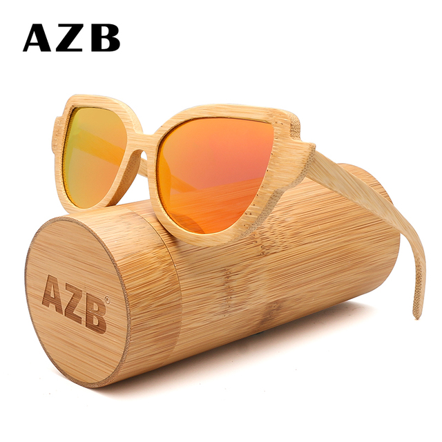 0653e093d57fc AZB 2018 new fashion bamboo polarized sunglasses ladies cat eye European  and American style wooden glasses 9069