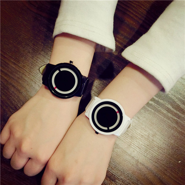 Bgg Fashion Brand Men Women Simple Style Watch Black Unique Design Timepiece Uni