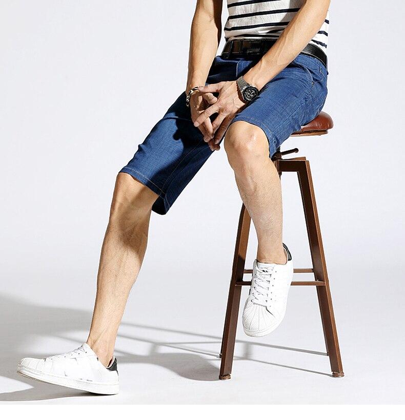 KSTUN Men's Jeans Denim Shorts Stretch Ultrathin Light Blue Regular Fit Casaul Shorts Breathable