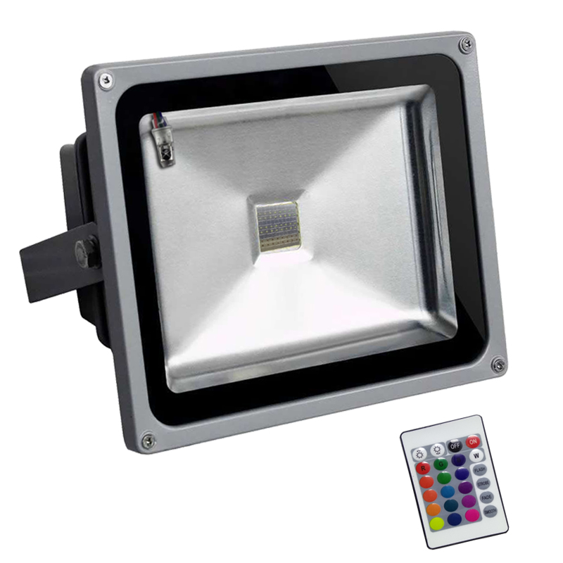Waterproof Outdoor 50W RGB LED Flood light 10w 20w 30w with IR Remote Controller 16 Colorful changeable led floodlight lamps