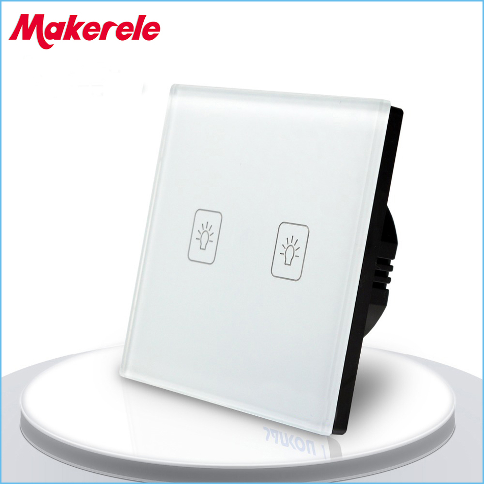 EU Standard Touch Switch 2 Gang 1 Way Light Switch , wall switch,wall socket for lamp eu committees