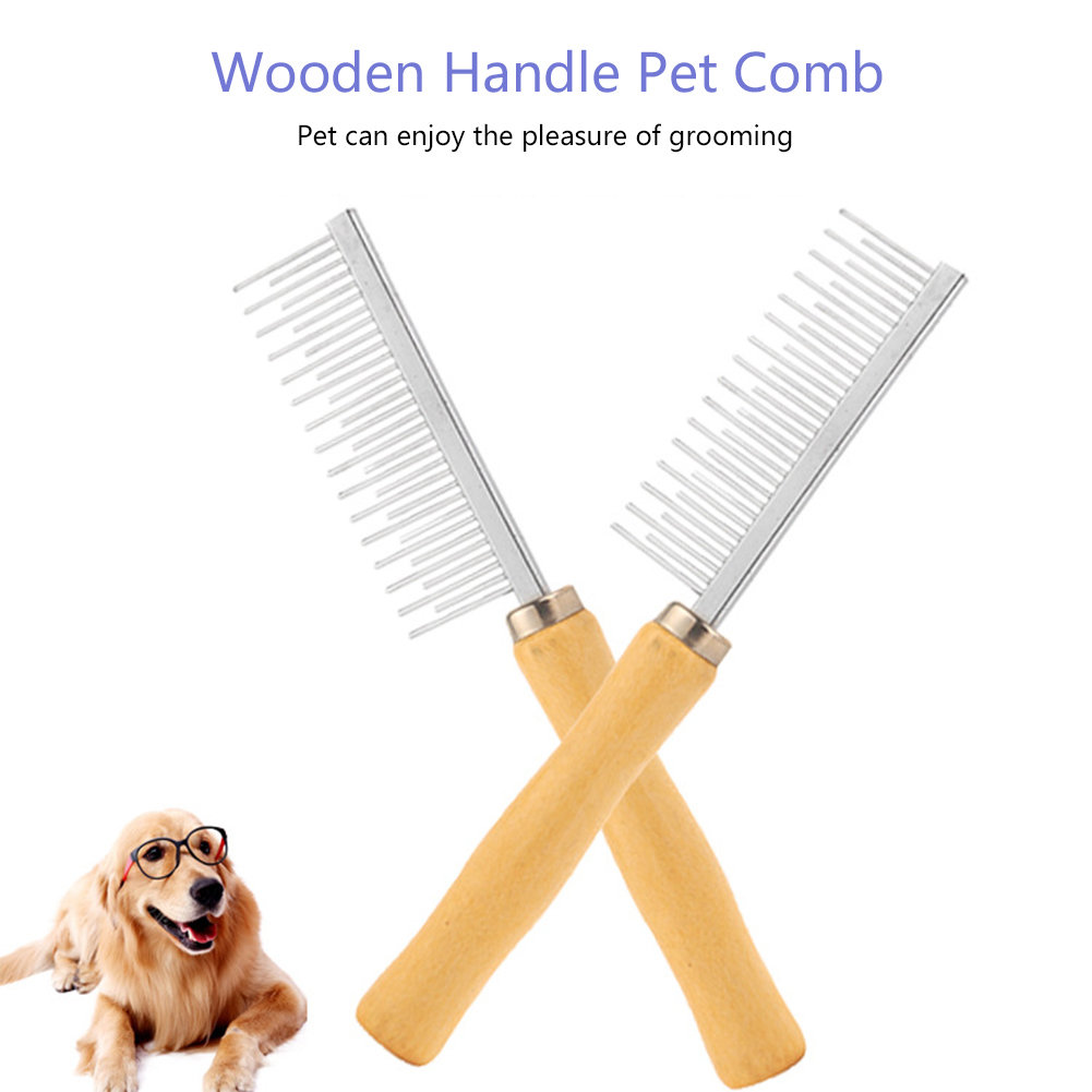 Stainless Steel Long Wooden Handle <font><b>Pet</b></font> Dog Cat <font><b>Comb</b></font> Grooming Brush <font><b>Hair</b></font> <font><b>Removal</b></font> <font><b>Single</b></font> Row <font><b>Straight</b></font> <font><b>Comb</b></font> for Small large dog cat