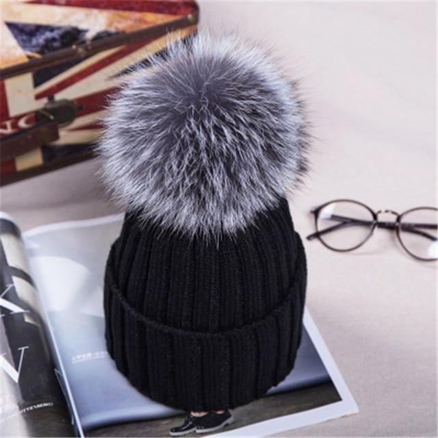 15CM Women's Hats Natural Silver Fox Fur Ball Hat Pompom Woollen Cap Lady Thickness Warm Cap Headgear Knitted Skullies For Gift