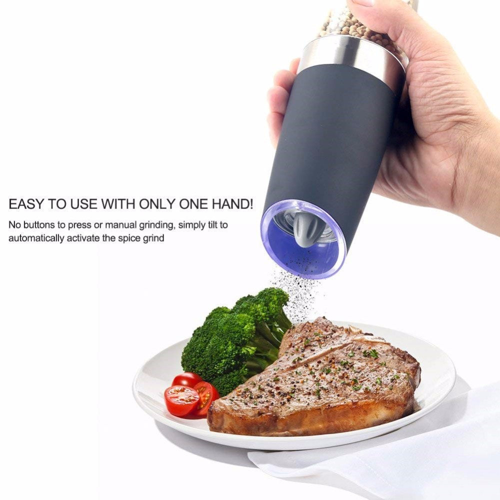 Realand Stainless Steel Battery Operated Gravity Electric Pepper Grinder Salt Mill Automatic Spices Mill with Blue Led Light moulin à sel et poivre