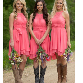 short bridesmaid dresses coral 2019 pleats mini chiffon cheap wedding party dresses vestido madrinha