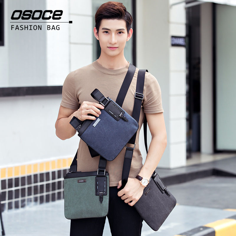 OSOCE Canvas Handbags Shoulder Bags Waterproof Korean Brief Men Fashion Bag Street Office School Brand Green Gray Blue Brand osoce men bag sling shoulder bag business casual canvas korean brief bags street office bag green blue gray s1 s2