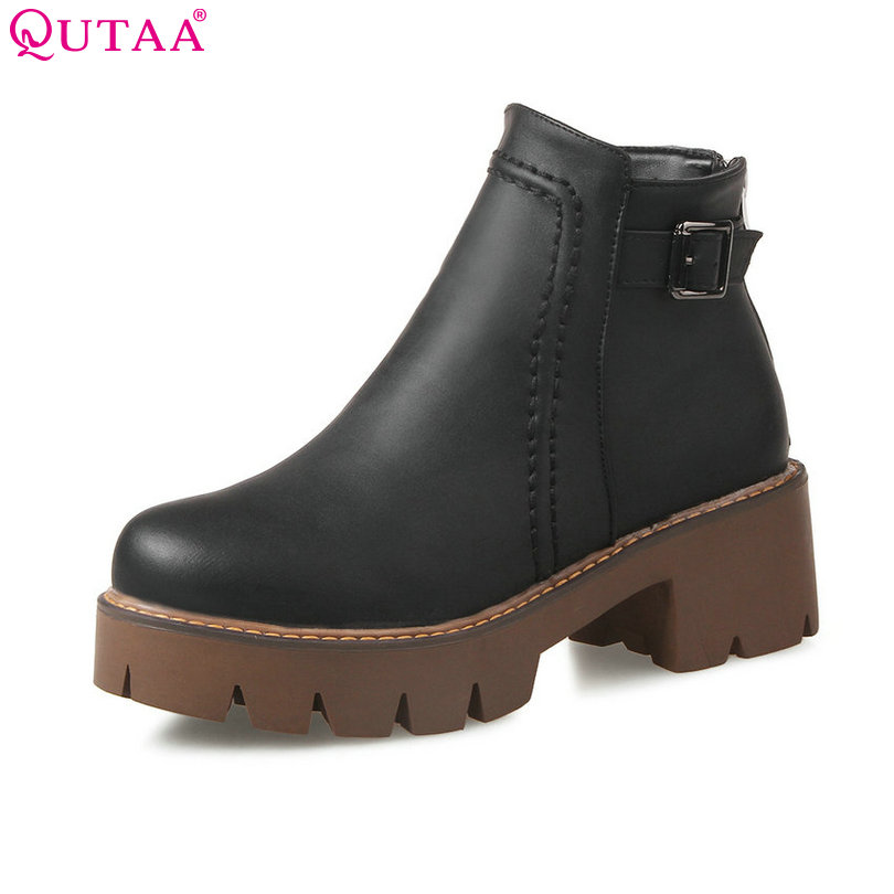 QUTAA 2018 Square High Heel Woman Ankle Boots Women Shoes Round Toe PU leather PU Leather Ladies Motorcycle Boot Size 34-43 стоимость
