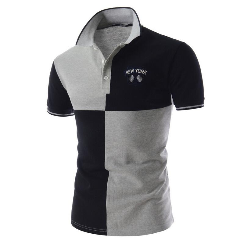 Casual Polo Shirt Male Summer Fashion New Men s Black And White Stitching Cotton Short sleeved