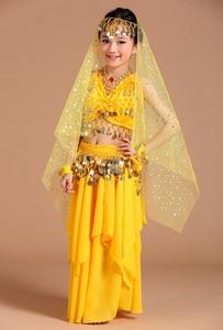 Image 4 - 5 stücke 1 set Mädchen Bauchtanz Kostüme Kinder Bauch Tanzen Mädchen Bollywood Indische Leistung Dancewear Kinder Oriental Dance