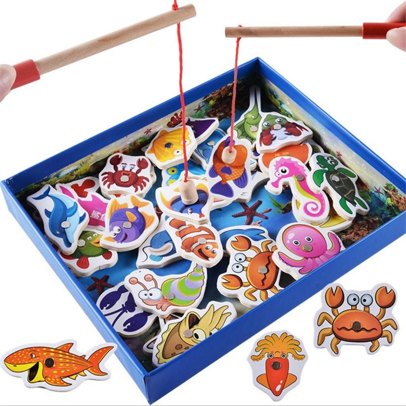 Baby Educational Toys 32Pcs Fish Wooden Magnetic Fishing Toy Set Fish Game Educational Fishing Toy Child Birthday/Christmas Gift new 14 fishes 2 fishing rods wooden children toys fish magnetic pesca play fishing game tin box kids educational toy boy girl