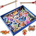 Bebé Juguetes Educativos 32 Unids Conjunto de Juguete de Pesca Magnética de Madera de Pescado de Pescado Juego Educativo Del Juguete Del Niño de Cumpleaños/Navidad regalo