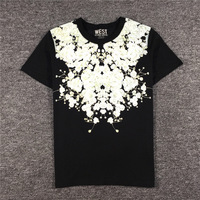 2019 Short Sleeve Tee Shirt Jasmine Flower Printed Men T Shirts O neck Loose Summer T shirt for Mens Casual Tshirt Homme B62
