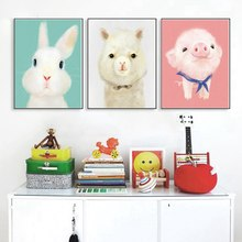 Nordic Poster Cute Cartoon Animals Wall Art Canvas Print Pink Pig Penguin Rabbit Painting for Bedroom Office Decor Custom