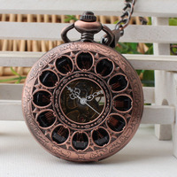 Vintage Flower Hollow Copper Mechanical Pocket Watch Hand Wind Watches Chain Skeleton Steampunk Men Women Gift
