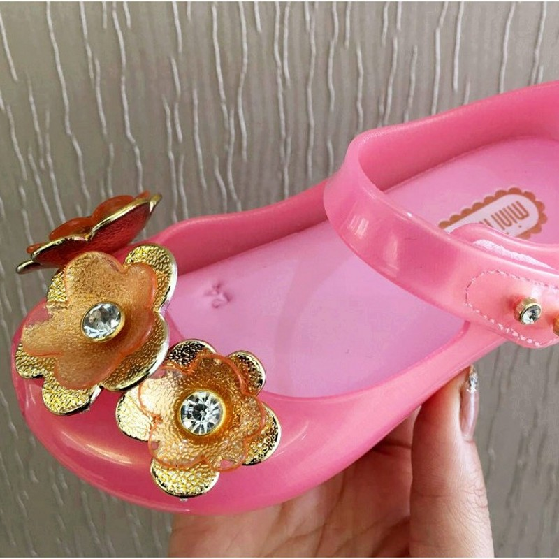 Mini Melissa 3 Colors 2018 New Jelly Sandals Childrens Sandals Flower Princess Melissa Jelly Shoes Sandals Jelly Sandals