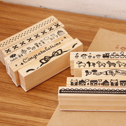 Zakka wool boxed wood stamp small animal lace bow laciness