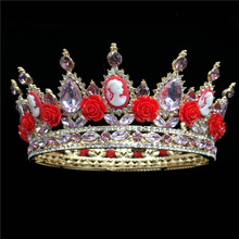 Elegant Queen King Bride Tiara Crown For Women Prom Red Flower Bridal Wedding Tiaras and Crowns Hair Jewelry Accessories RE3158