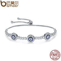 BAMOER New Arrival Genuine 925 Sterling Silver Luxury Round Blue Eyes Clear Cubic Zircon Crystal Tennis