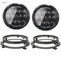 Super Bright 105W 7 Inch Round LED Headlight With White Amber Turn Signal DRL For Jeep