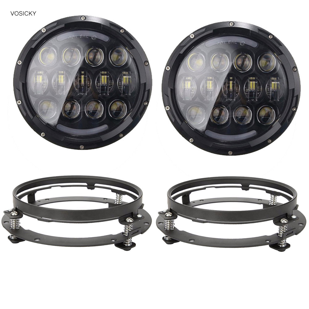 VOSICKY Super bright 105W 7 Inch Round LED Headlight with White/ amber Turn Signal DRL for Jeep Wrangler Jk Tj Harley Davidson 1 pair 60w 7 inch round led headlight with white amber turn signal drl for jeep wrangler jk tj harley davidson