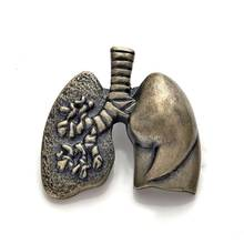 New Lungs Shape Lapel Pin Antique Gold Silver Gift for Doctor/Nurse Medical Christmas Cute Brooch Men Badge Jewelry Accessories(China)