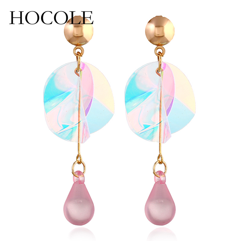 HOCOLE 2018 New Fashion Colorful Shiny Sequins Statement Earrings For Women Long Drop angle Earrings Jewelry Wedding Party Gifts in Drop Earrings from Jewelry Accessories