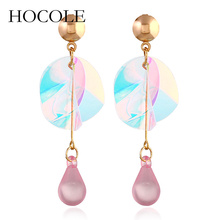 HOCOLE 2018 New Fashion Colorful Shiny Sequins Statement Earrings For Women Long Drop angle Jewelry Wedding Party Gifts