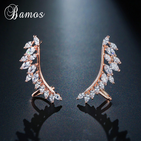 Bamos New Unique Design Silver/Yellow/Rose Gold Filled Double Wings Stud Earrings For Women Sparkling White AAA Zircon Earrings Lahore