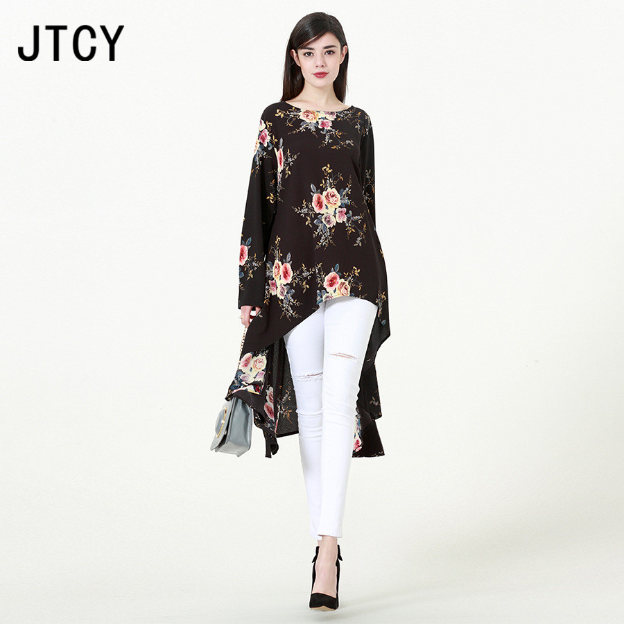 JTCY M-6XL Long Sleeve O-neck Print Fashion   Blouses   Top 2018 Autumn Plus Size Floral Women   Blouse   Elegant Long   Blouse     Shirts