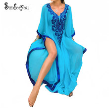 Baru Ukuran Bordir Chiffon Beach Cover Up Pantai Long Gaun Kaftan Beach Pareo Ropa De Playa Mujer Wanita Beachwear(China)