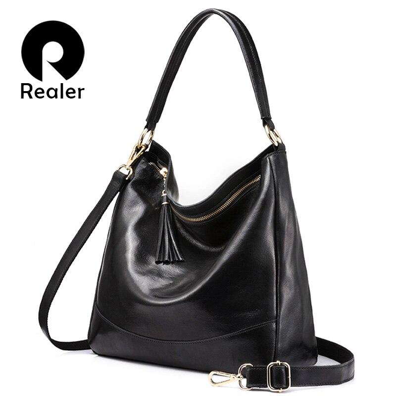 REALER бренд женская сумка хобо через плечо из натуральной кожи с кисточкой, большая кожаная сумка женская на плечо, кожаные сумки для женщин, Ч...