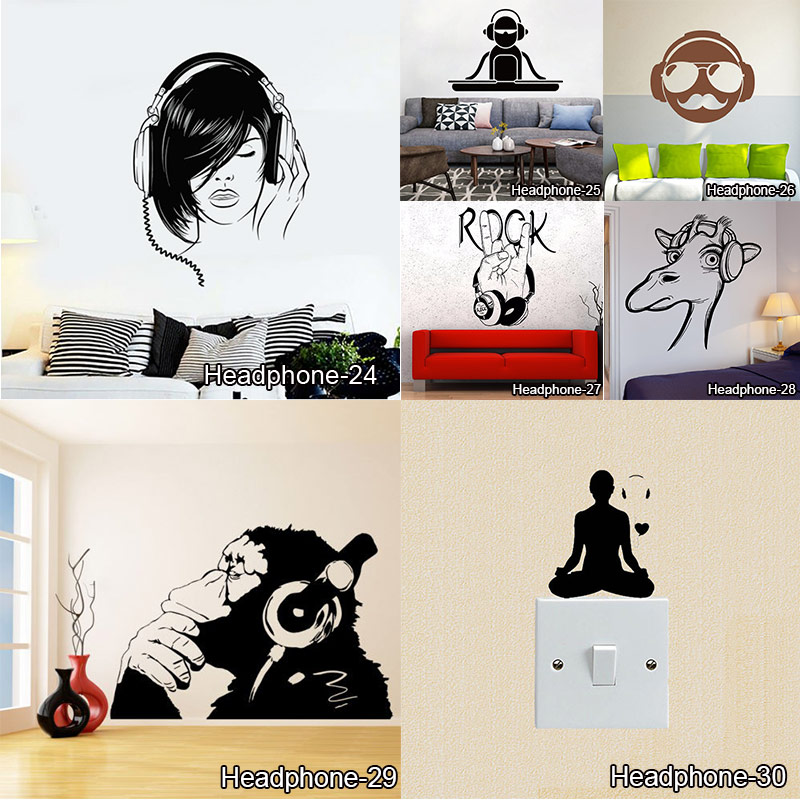 Chimp Listening to Music in Earphones DJ Wall Stickers For Living Room Rock Songs Funny Monkey With Headphones Wall Decals image