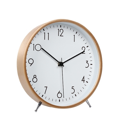 Décoration Bureau Simple Alarme Bureau De Bureau Snooze Fonction Muet Chambre Horloge Pendule Silence Table Vintage En Bois Horloge LY453