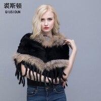 QIUSIDUN натуральный кроличий мех вязаная шаль Осень зима теплый шарф с бахромой из меха енота отделка модная женская Пашмина черно белая