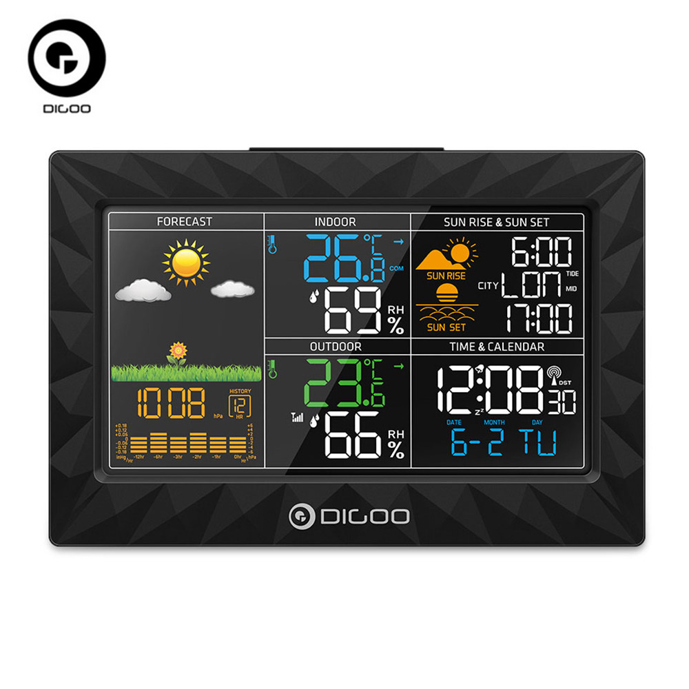 DIGOO DG-TH8988 Weather Station Sunrise Sunset Display Outdoor Indoor Thermometer Hygrometer Temperature Humidity Remote Sensor
