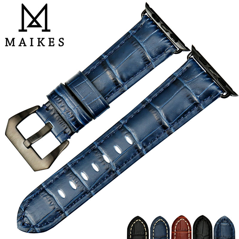 MAIKES Watch accessories watchbands genuine cow leather watch band for black Apple Watch strap 42mm 38mm series 2 & 1 iwatch maikes 18mm 20mm 22mm watch belt accessories watchbands black genuine leather band watch strap watches bracelet for longines