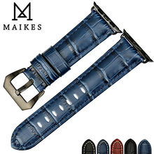 MAIKES Watch accessories watchbands genuine cow leather watch band for black Apple Watch strap 42mm 38mm series 2 & 1 iwatch tjp series 2 1 genuine brown vintage italy calf leather watchbands strap for apple watch iwatch 38mm 42mm wristband with adapter
