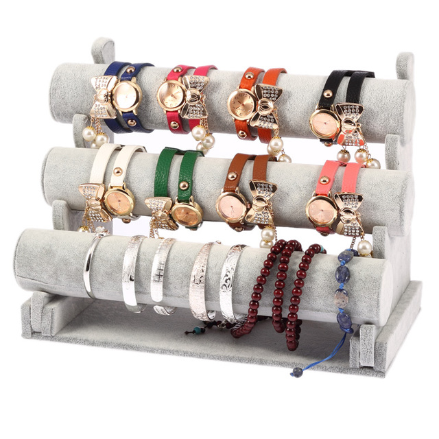 High Grade Popular Gray Suede 3-tier Detachable Jewelry Bangle Watch Hair Band Bracelet Display Organizer Holder Stand