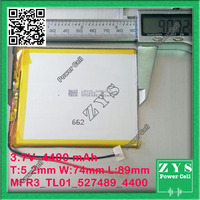 Safety Packing (Level 4) 3.7V 4400mAh battery 527489 Lithium Polymer Rechargeable Battery Li Po li ion For Mp3 DVD Camera GPS