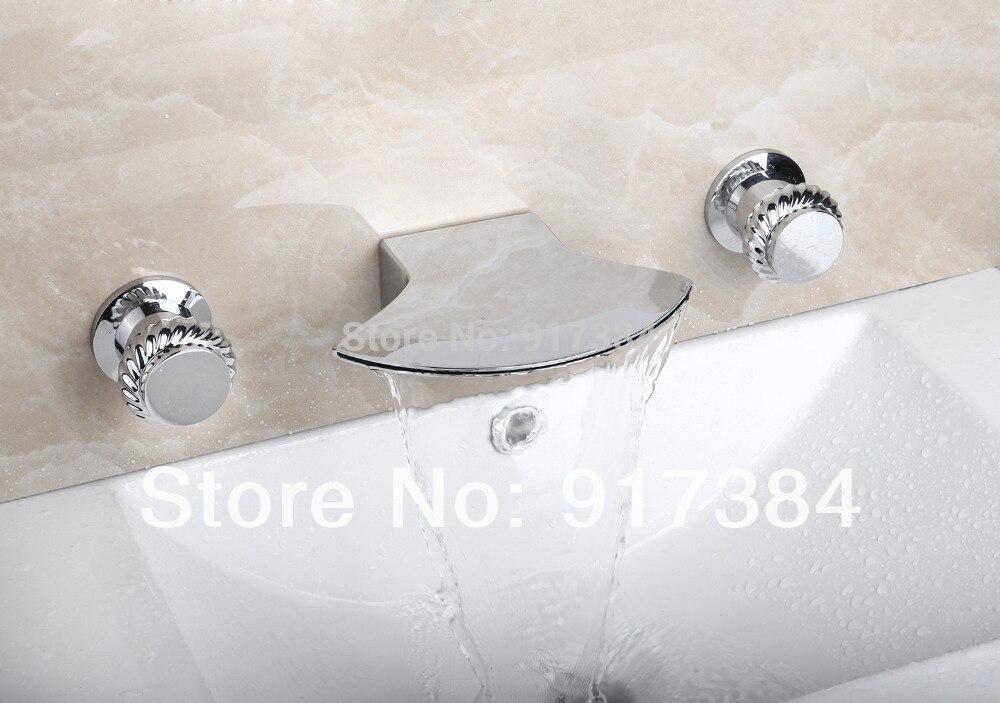 Unique Deck Mounted  Ceramic  Double Handles Bathroom Bathtub Basin Sink Mixer Tap 3 pcs Chrome Faucet Set FG-3218 deck mounted bathroom basin sink bathtub
