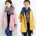 Girls Coats and Jackets Oversize Long Kids Outerwear Trench Yellow Pink