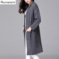 Herfst Winter Vest Trui Volledige Mouw Patch Pocket Grey Hennep Braid Graan Vrouwen Kleding Lente Lange Jas Uitloper Plus Size