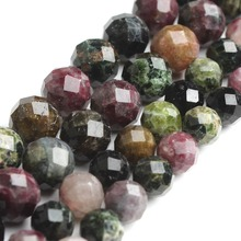 Natural Faceted Tourmaline Round Loose Gemstone Beads Fit DIY Bracelet Necklace Size 6/8mm 7.5 '' For Jewelry Making Wholesale