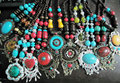 Mixed Designs Nepal Silver Red Bead or Turquoise Assorted Tibet Necklace Statement Vintage Women Jewelry 8pcs Lot