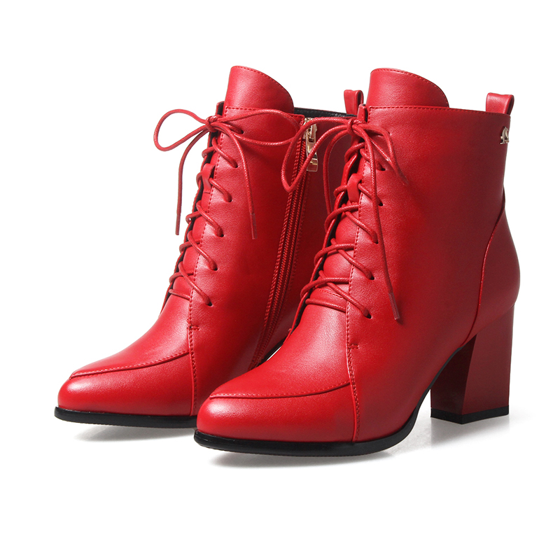 ФОТО High quality Chinese casual style sexy pointed toe ankle boots lace up metal zipper decoration high-heeled women's riding boots