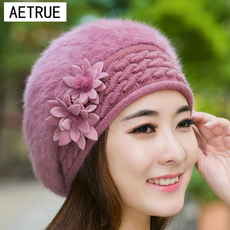 Beanies Women Fur Winter Women's Hats Beret Girls Knitted Winter Hats For Women Bonnet Caps Brand Wool Ladies Warm Skullies Hat stylish bowknot wool beret