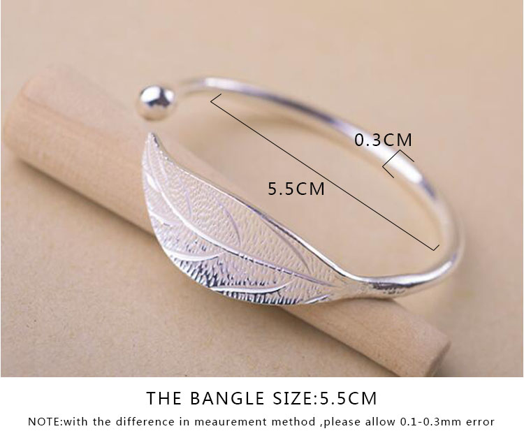 SMJEL Fashion Trendy Open Leaf Cuff Bracelet Bangles for Women Simple Plant Bracelet Femme Boho Jewelry Birthday Gift SYSZ014 4