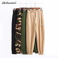 Wysoka Talia Casual Spodnie Moda Hiphop Kobiety Tańca Slacks Camo Cargo Spodnie Punk Rock Style Camouflage Jogger Spodnie Z Kieszeniami
