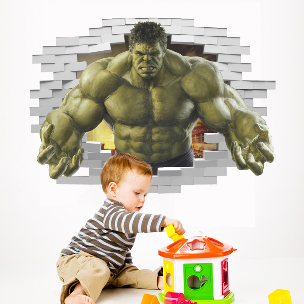 HTB1obVzQpXXXXc0XVXXq6xXFXXXi - Superheroes Comic Avengers The Incredible HULK Wall Sticker For Kids Room